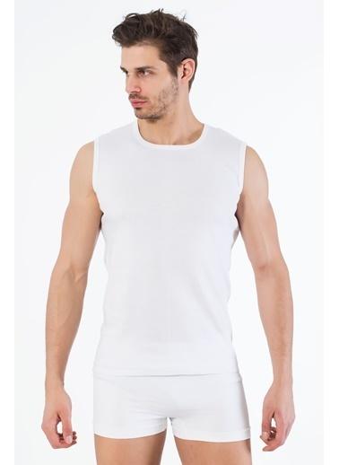 Siyah İnci 2'li Pamuklu Yuvarlak Yaka Kolsuz T-Shirt Beyaz